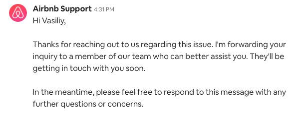 Airbnb Support message