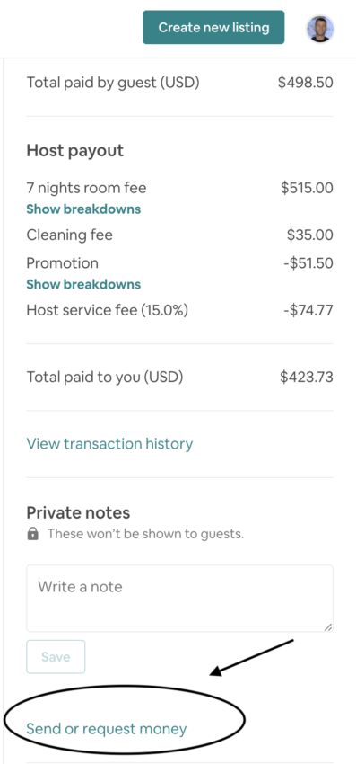 Airbnb request for money